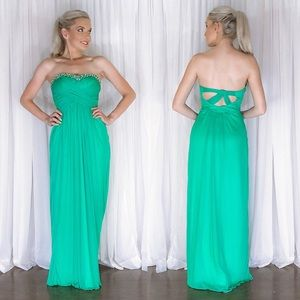 Emerald Green Strapless Cage Back Homecoming Dress